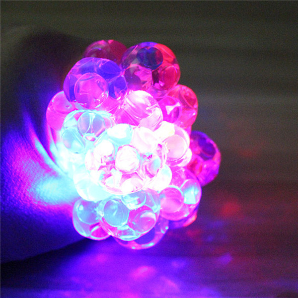 Colorful Flashing LED Night Light Vent Grape Squeeze Ball AntiStress Decompression Fancy Toy