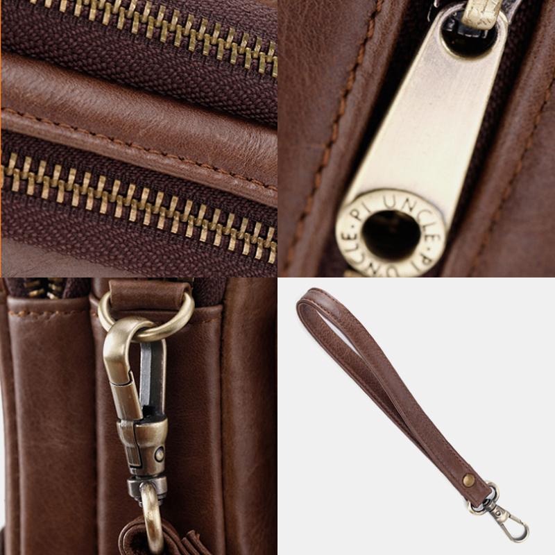 Men Genuine Leather Retro Casual Long Wallet Card Bag Clutch Bag