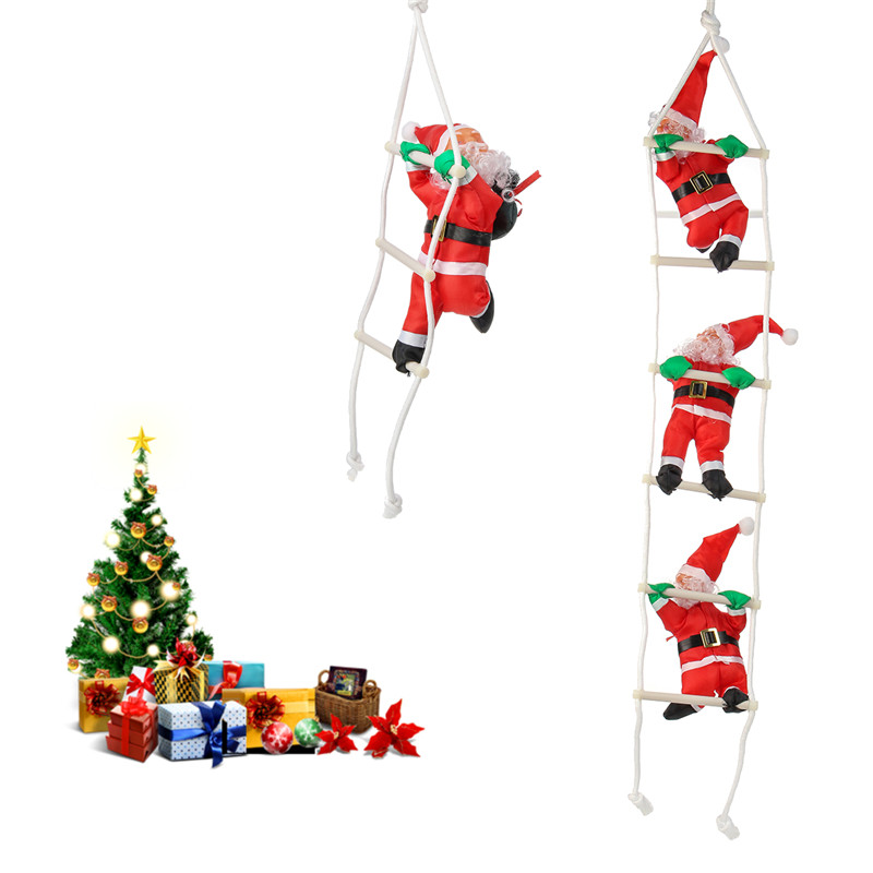 Christmas Party Home Decoration Santa Claus With Red Sling Climbing Stairs Toys Kids Children Gift