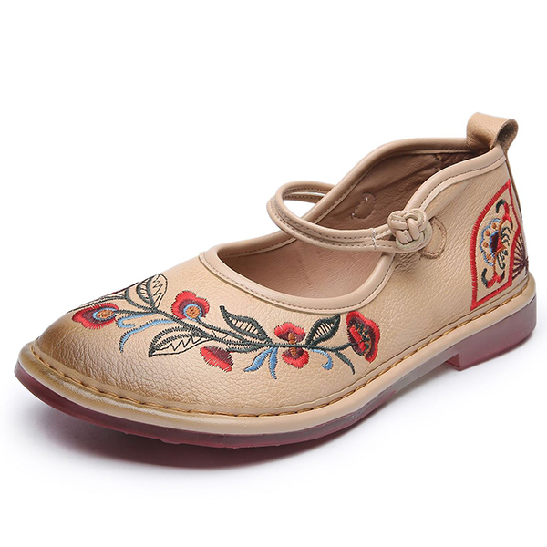 SOCOFY Genuine Leather Retro Handmade Flats Loafers