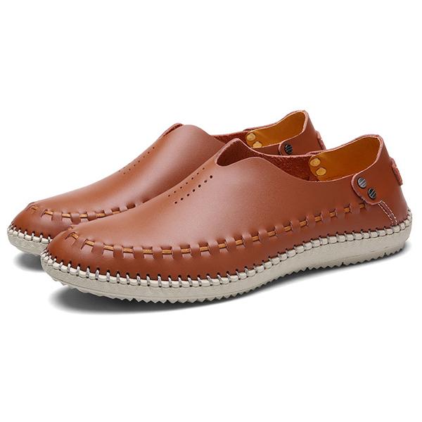 Men Comfy Soft Genuine Leather Flat Loafers