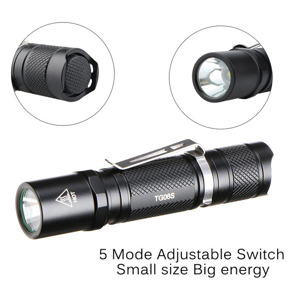 ThorFire TG06S Upgraded Version XP-G2 500LM 5Modes Mini EDC LED Flashlight AA/14500