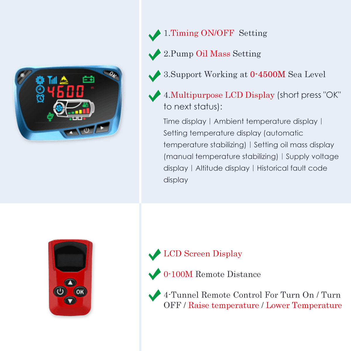 12V 8000W Diesel Air Heater All in 1 LCD Monitor Remote Control for Truck Motorhome Boat Trailer