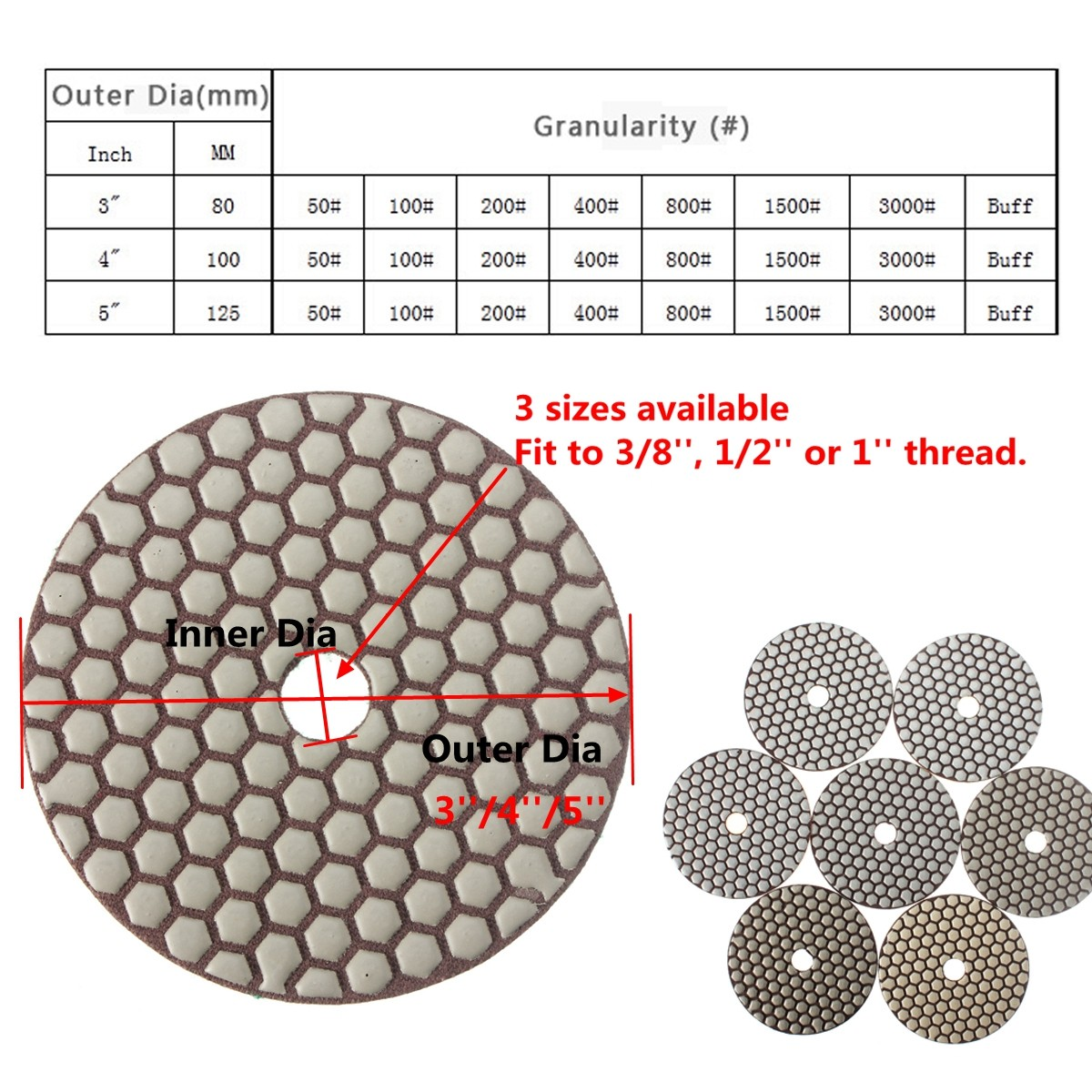 3/4/ 5 Inch Diamond Polishing Pads Wet Dry 50-3000 Grit Pads For Granite Concrete Marble Stone