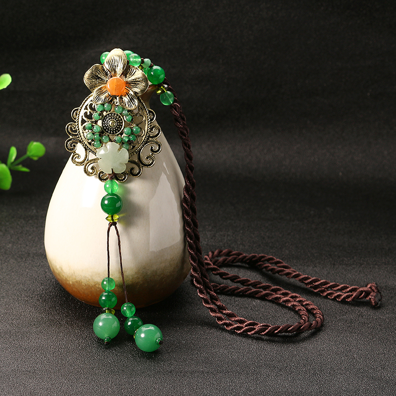 Ethnic Style Necklace Flower Jade Rope Retro Necklace for Women