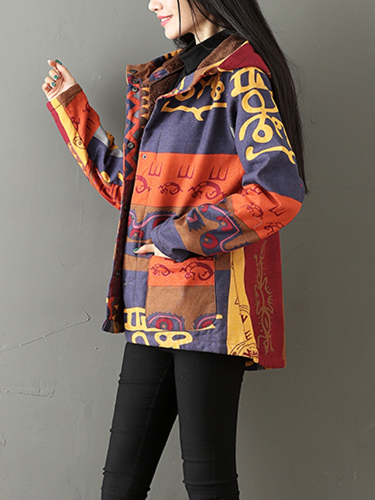 Ethnic Printing Fleece Thick Women Hooded Coats