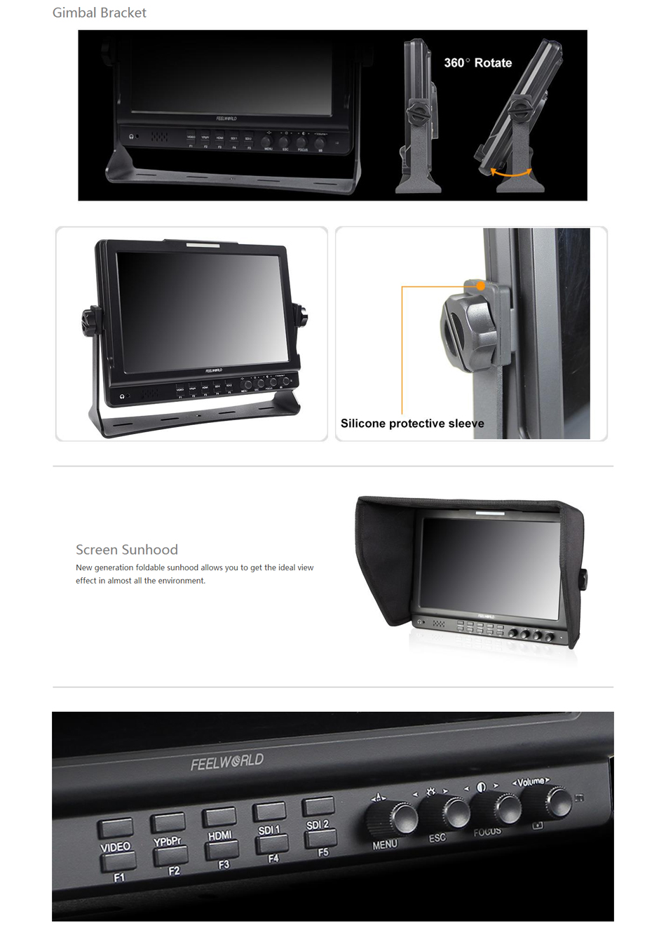 FEELWORLD FW1019 10.1 inch IPS 1280x800 Seamless Switch Dual 3G-SDI Camera-Top Monitor with Waveform Vectorscope Color Histogram