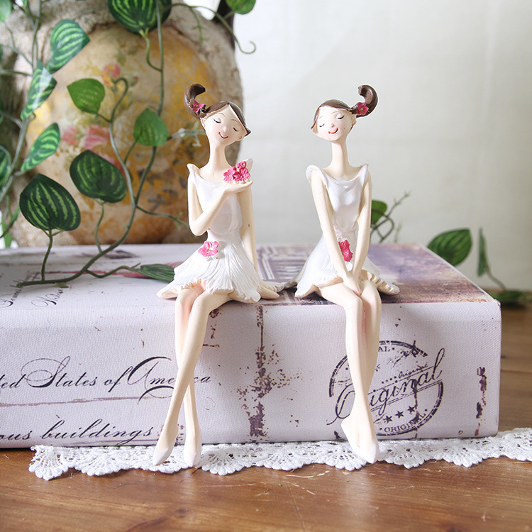 2pcs/set Beautiful Girl & Angel Creative Resin Doll Ornaments European Style Fairy Garden Figurines Wedding Gift Home Decorations