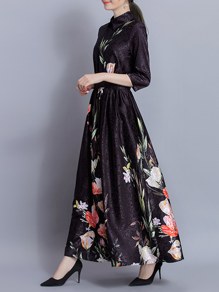 Floral Printed High Waist Dress
