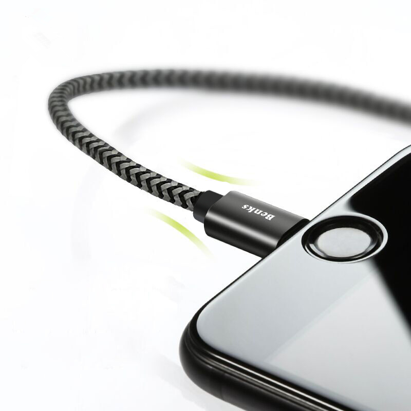 Benks M07 2.4A Braided Lightning for Fast Charging Data Cable For iPhone X 8 Plus 7 6 5s