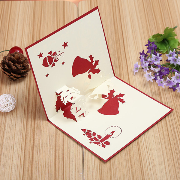 3D Pop Up Greeting Card Table Merry Christmas Post Card