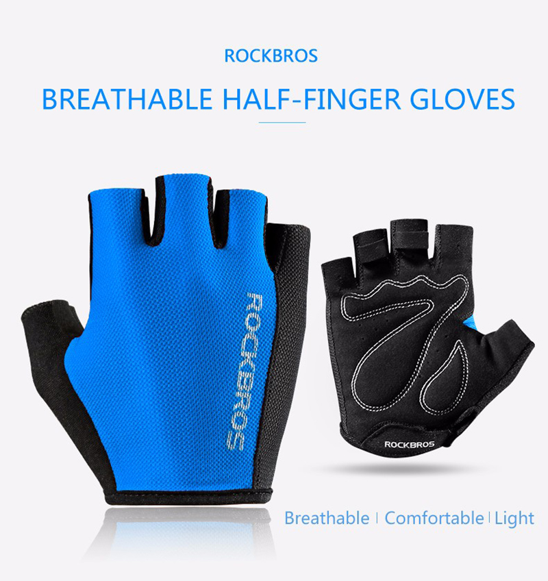 ROCKBROS S099 Cycling Gloves For Men Women Road Bike Bicycle Sponge Pad Half Finger Glove Shockproof