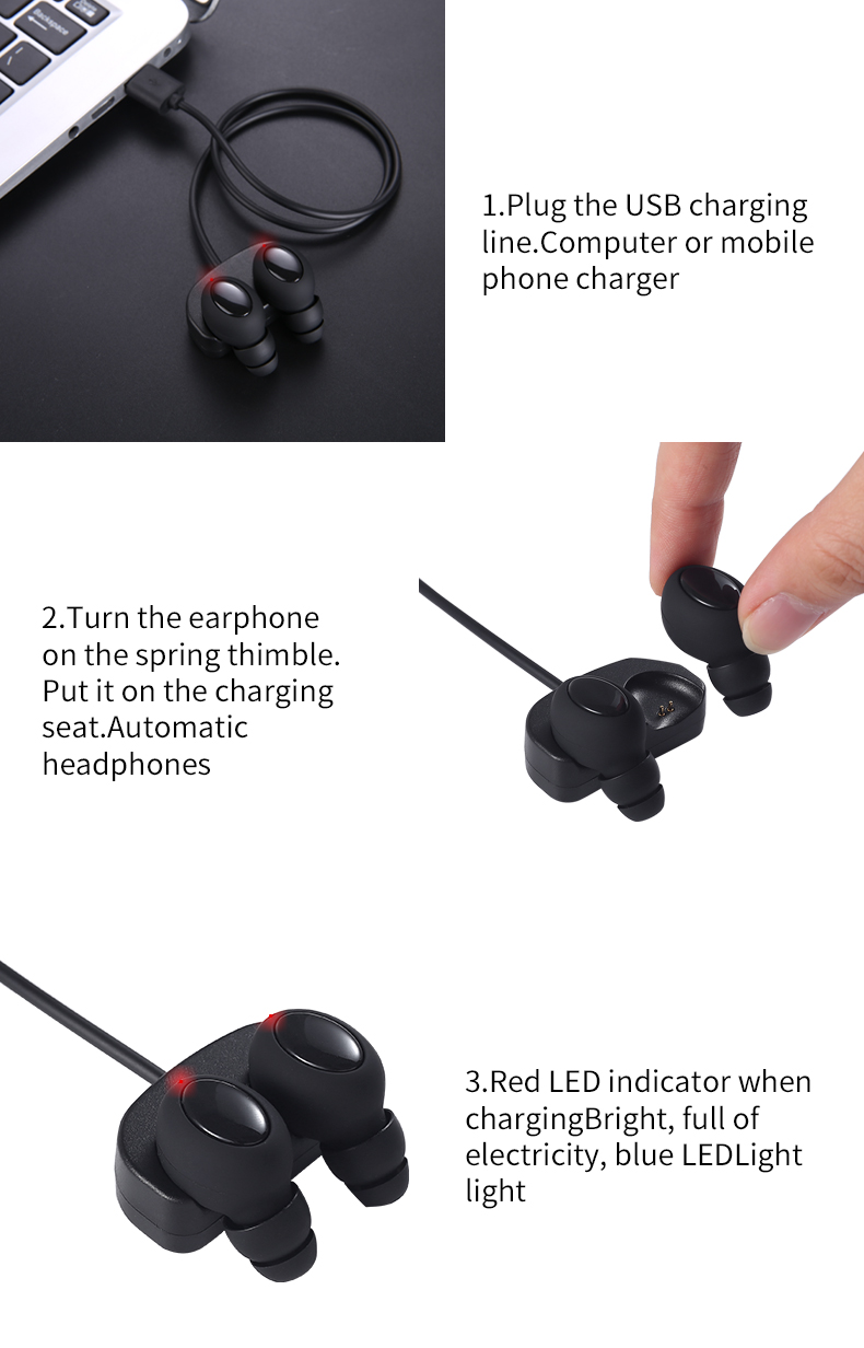 Mini Portable Wireless bluetooth Earphone HIFI Stereo Sound Waterproof Invisible Headset With Mic