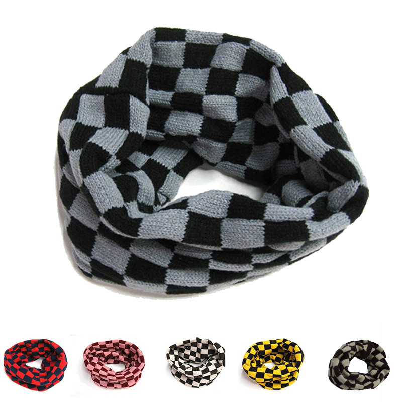 Toddler Kids Girls Boys Neckerchief Collar Plaids Checks Warm Knitting Wool Round Head Fold Scarf