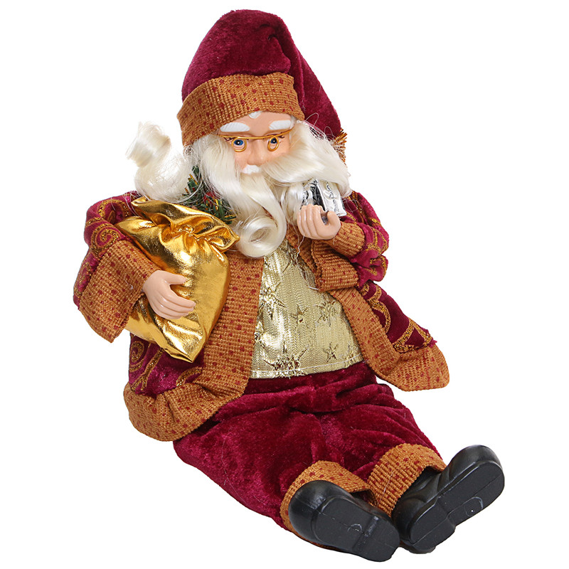 Christmas Party Home Decoration 35CM Sitting Santa Claus Ornament Toys For Kids Children Gift