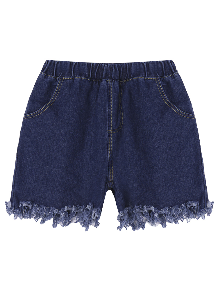 Loose Women Ripped Elastic Waist Pocket Denim Shorts Cut Off