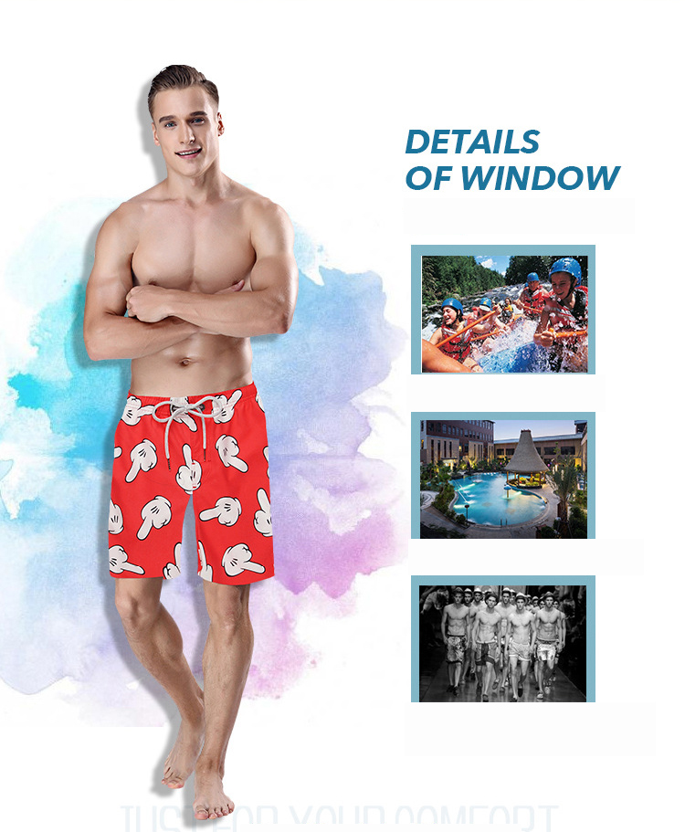 S5258 Beach Shorts Board Shorts 3D Funny Gloves Printing Fast Drying Waterproof Elasticity