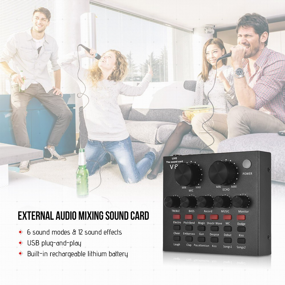 External Audio Mixer Sound Card USB Interface with 6 Sound Modes Multiple Sound Effects