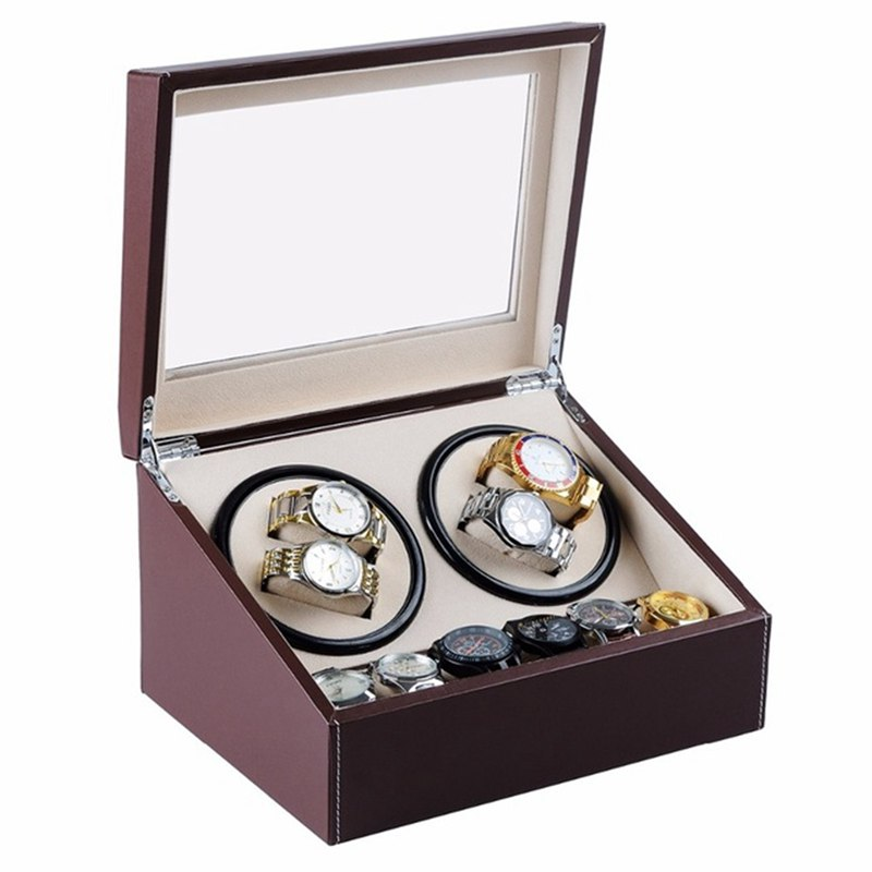Luxury PU Leather Automatic 4+6 Watch Display Box