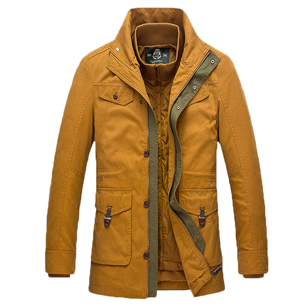 Mens Detachable Liner Stand Collar Warm Multi-pocket Jacket Contrast Color Mid-long Coat