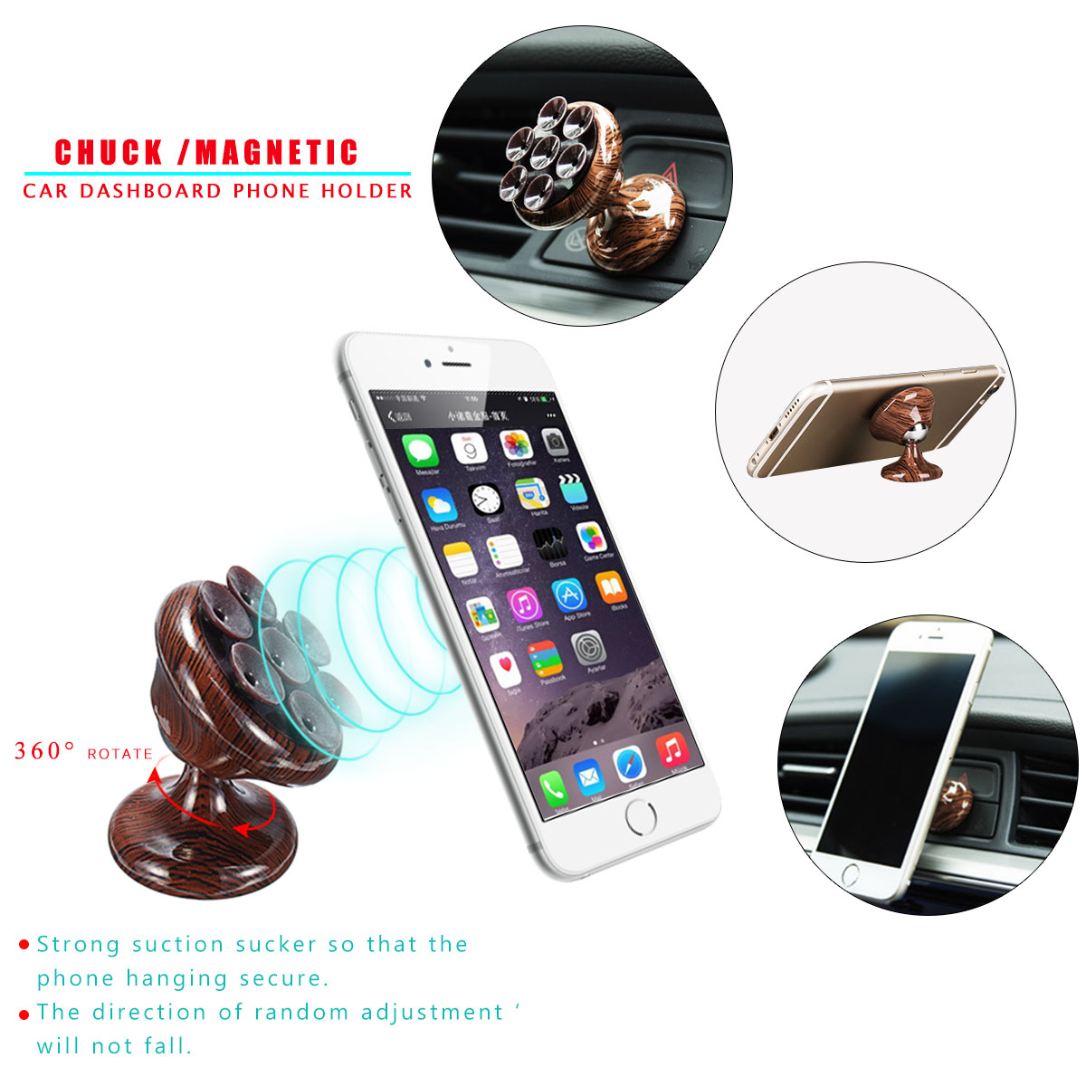 Magnetic Sucker Wood Car Dashboard Wind Shield Holder Desktop Stand PhonE Mount for Phone GPS