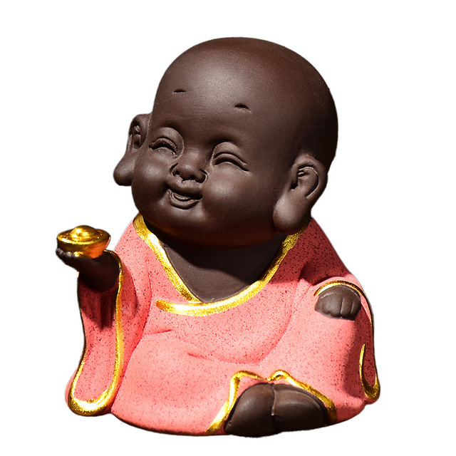 High-grade Purple Sand Painted Gold Maitreya Ornaments Home Interior Decoration Creative Statue Ceramic Craft