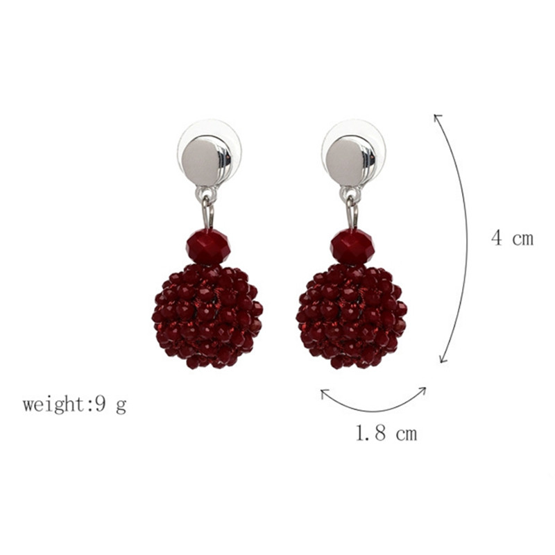 Unique Women's Colorful Bead Micro Pave Ball Drop Earring