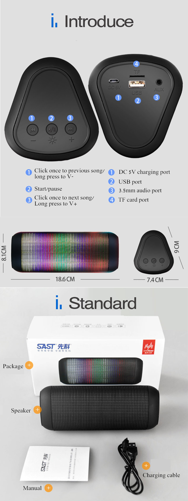 SAST T9 Colorful Fantasy LED Portable Bass Wireless bluetooth Speaker With TF Card AUX Line-in USB Disk