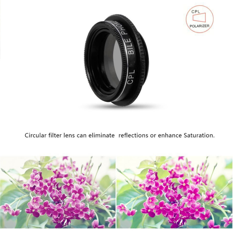 Apexel APL-SJ5 Fisheye Lens12X Macro 24X Macro Lens Wide Angle CPL Filter for Mobile Phone Tablet