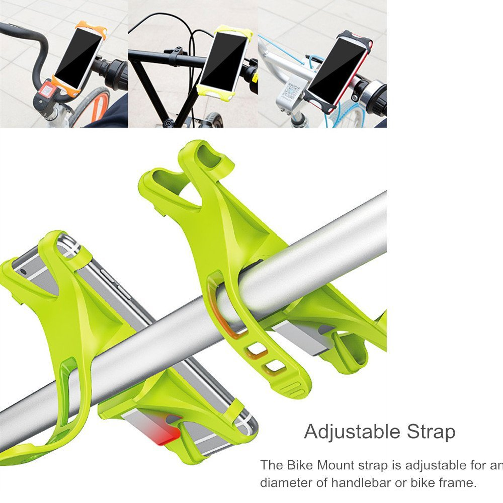 Baseus Bicycle Fluorescent Phone Holder Flexible Silicone Wehicle Mount for Phone under 6 inches