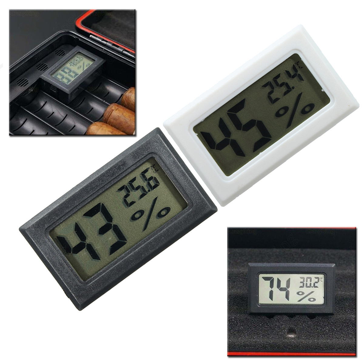 Digital Cigar Hygrometer Thermometer Humidity Monitor Meter for Humidor