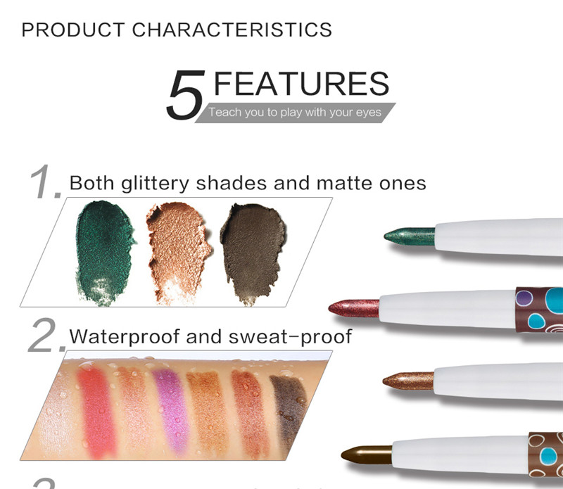 HUAMIANLI 1Pc Waterproof Highlighter Glitter Eye Shadow Pen Matte Eyeshadow Pencil Makeup Tool