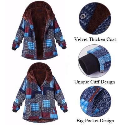 L-5XL Print Hooded Thicken Warm Coat