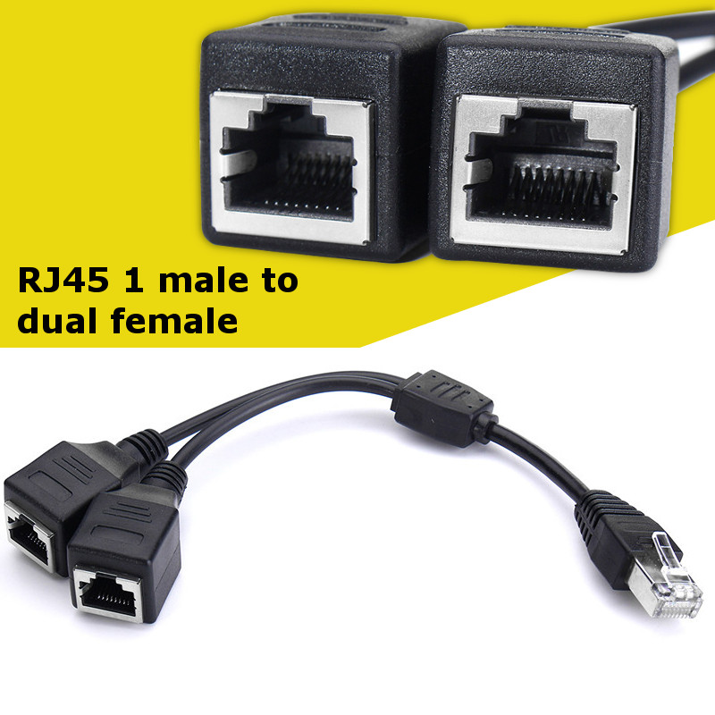 Cat 5 Lan Ethernet RJ45 Male To Dual Female Splitter Extension Cable Adapter