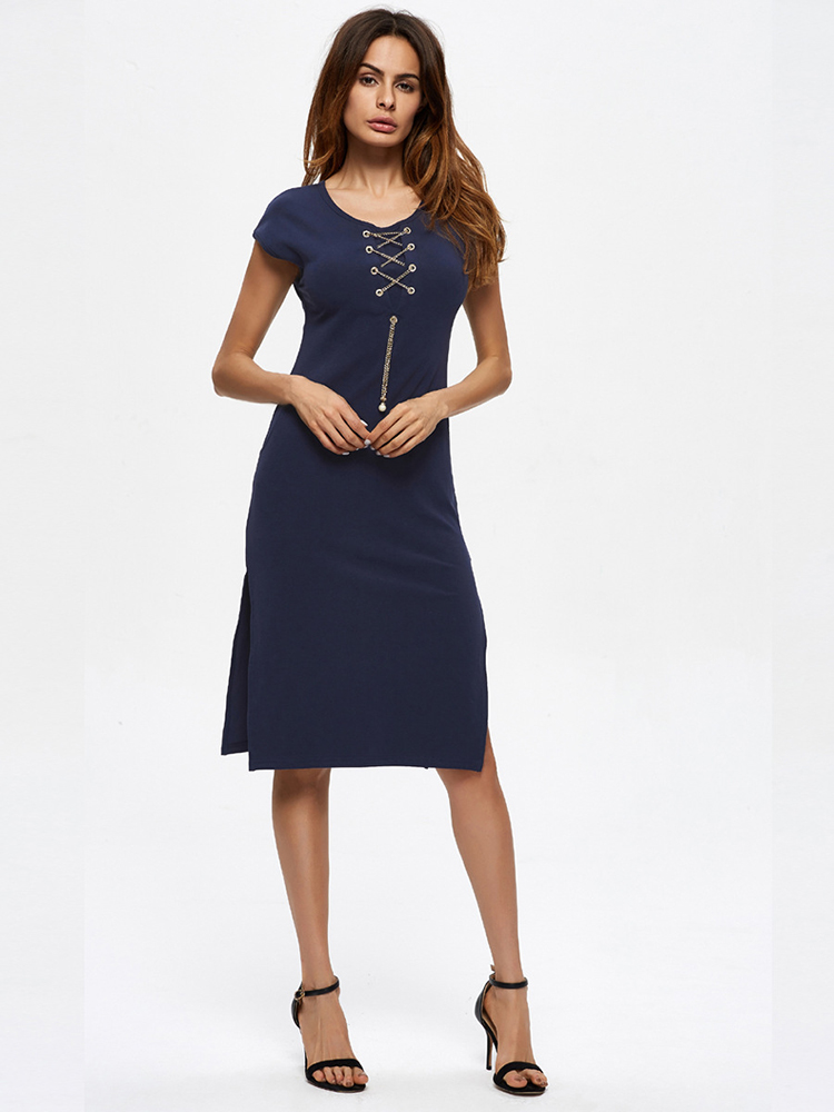 Navy Women Sexy Cross Strap Side Slit Short Sleeve Pocket Dresses