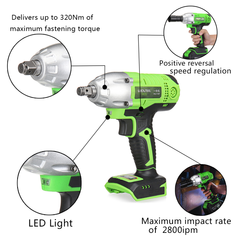18-108V Cordless Impact Wrench Power Drills Hammer High Torque 2 Li-ion Battery With LED Light