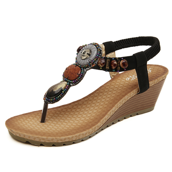 Bohemia Bead Wedge Beach Sandals Slip On Flip Flops Elastic Peep Toe Wedges