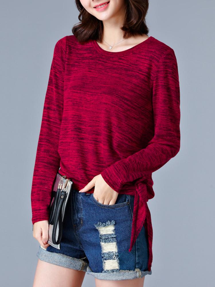 Women Solid Knit Contrast Tops Long Sleeve Autumn T-shirt