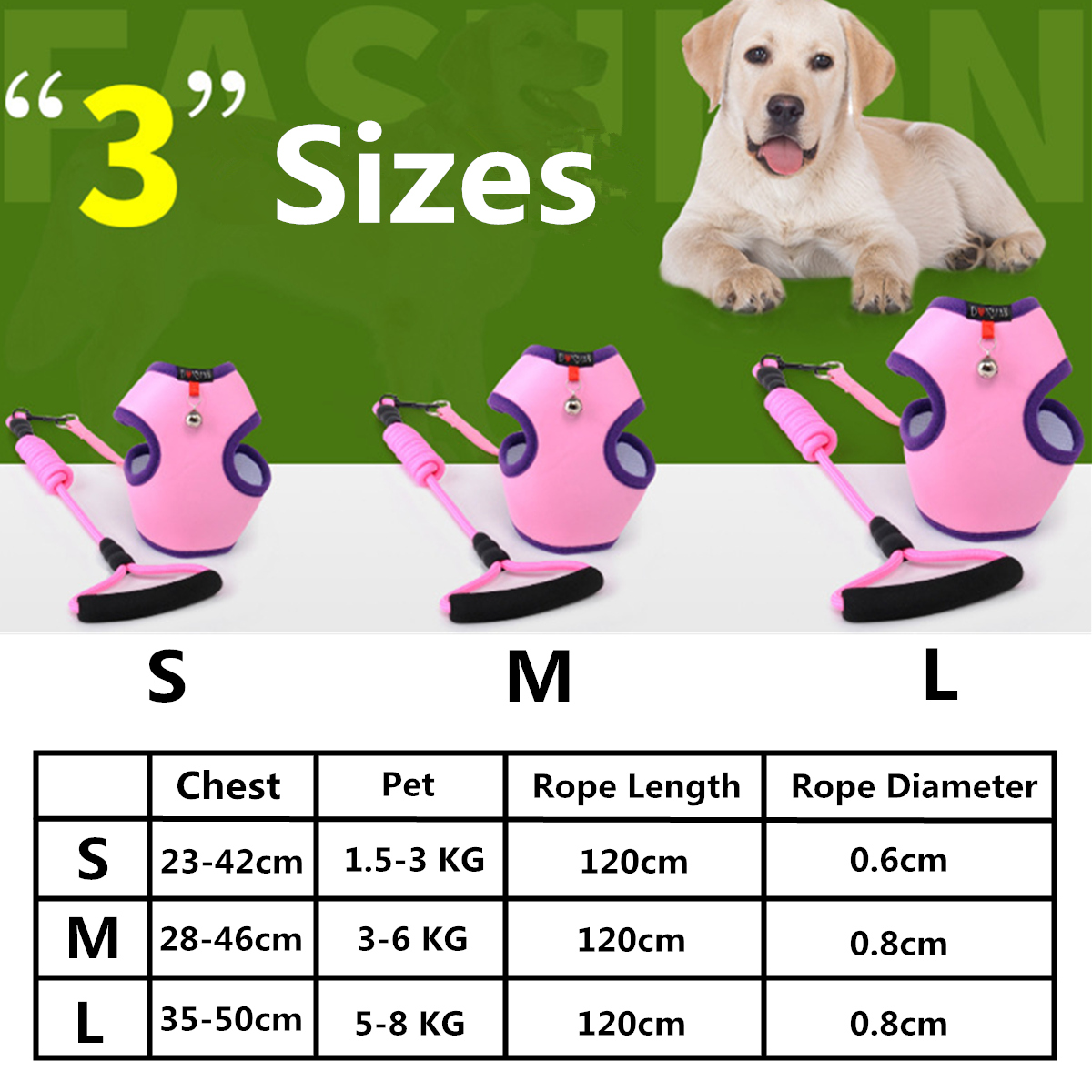 Pet Puppy Dog Breathable Vest Harness Leash Lead Strap Pet Vest With Small Bell