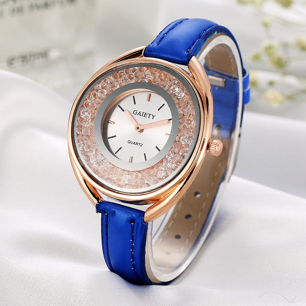 Gold Case Leather Strap Ladies Watch