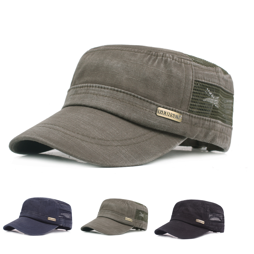 Mens Summer Solid Hollow Out Flat Hats Outdoor Peaked Cap