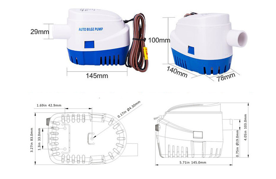 Dc 24v 1100gph Automatic Bilge Pump  Submersible Boat
