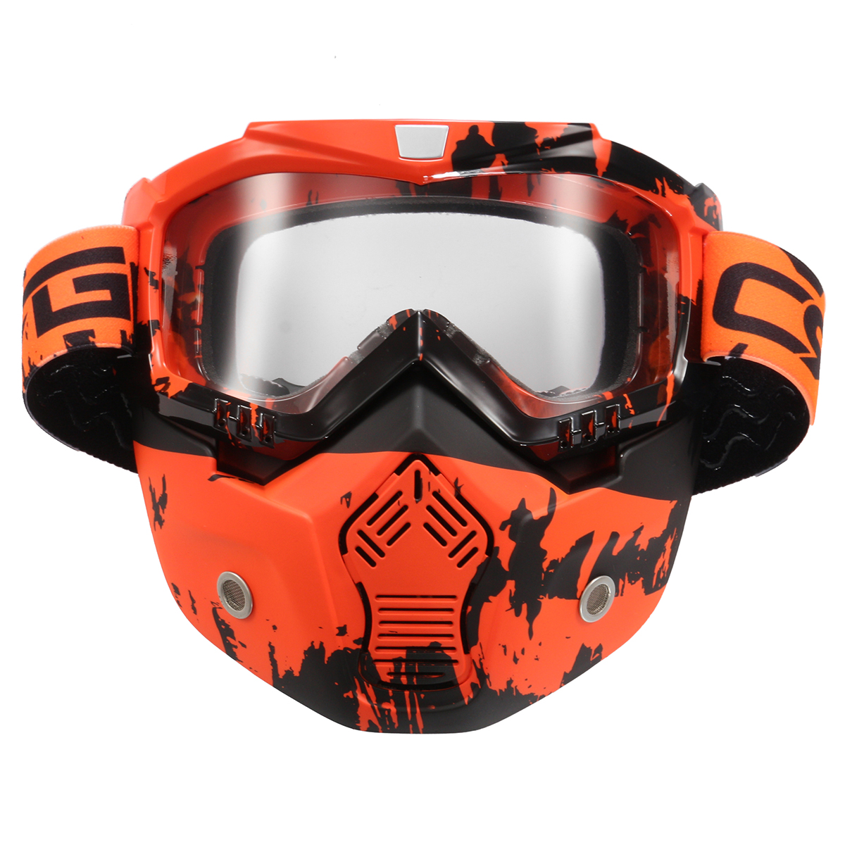 Detachable Modular Face Mask Shield Goggle Protect Motorcycle Helmet