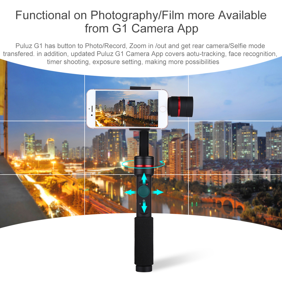 PULUZ PU303 G1 3-Axis Stabilizer Handheld Gimbal with Clamp Mount Tripod Holder for 4.7-5.5 inch Smartphone