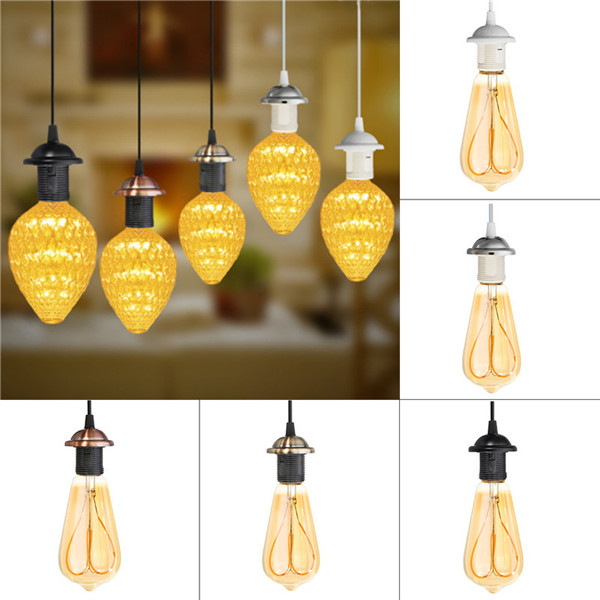 E27 Vintage Holder Fitting LED Ceiling Lamp Industrial Loft Iron Chandelier Fixture Pendant Lamp