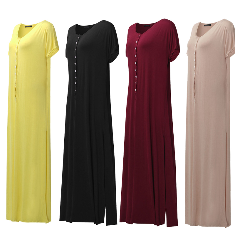 Women Short Sleeve Split V-neck Maxi Dress