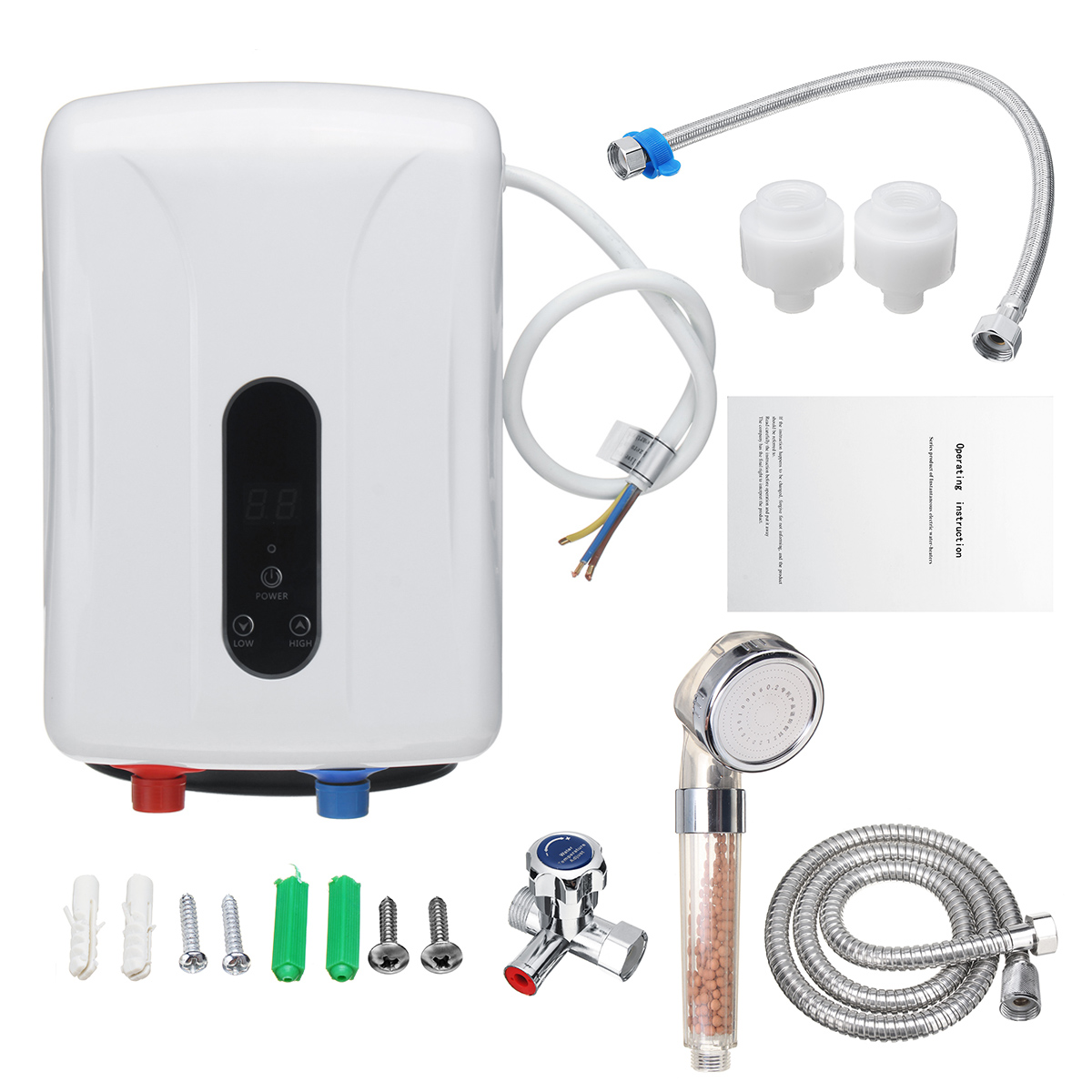 5.5KW Tankless Instant Electric Hot Water Heater Boiler Kitchen Bathroom Shower Set