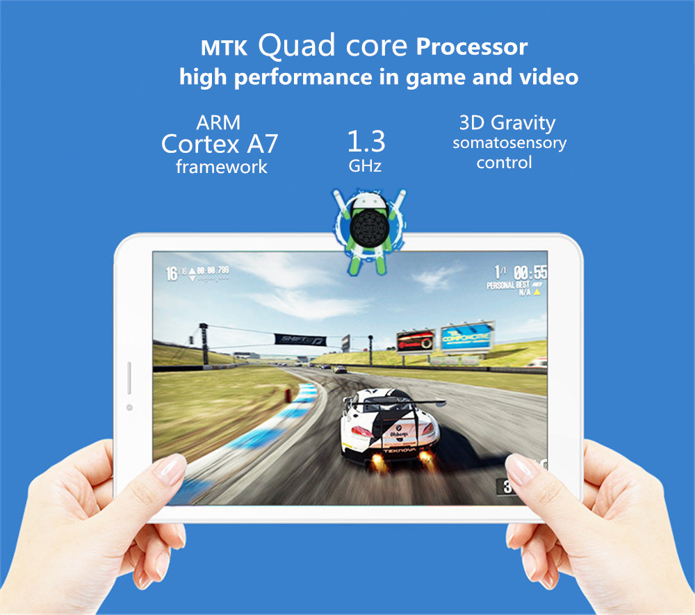 Original Box Binai V7S 16GB MTK8321 Cortex A7 Quad Core 7 Inch Android 8.1 3G Phablet Tablet White