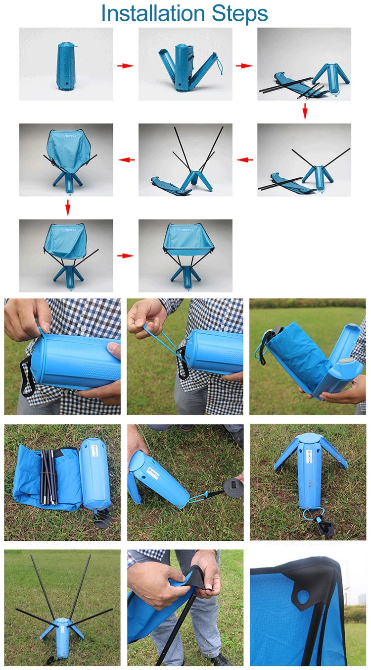 AOTU Portable Stable Foldable Nylon Chair Seat for Fishing Hiking Picnic Barbecue Beach Chair Fishing Tools