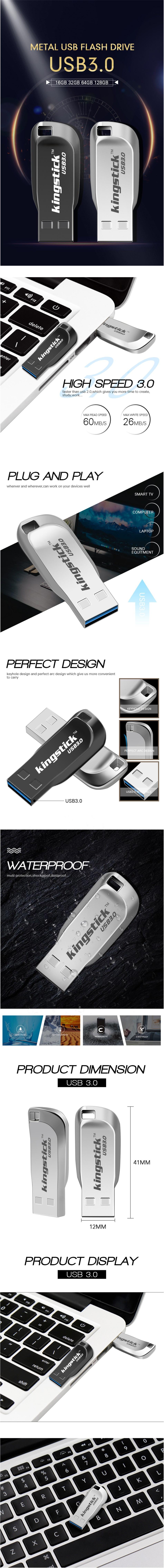 Kingstick XC-USB-KK-33 Mini USB Flash Drive USB 3.0 16GB 32GB 64GB 128GB Metal Flash Memory Card USB Stick Pen Drive U Disk